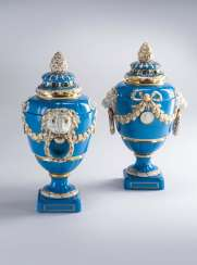 Pair of cover vases, KPM,