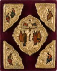 FIVE FITTINGS OF A GOSPEL WITH THE CRUCIFIXION OF CHRIST AND THE FOUR EVANGELISTS Russia