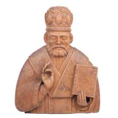A carved figure of St. Nicholas