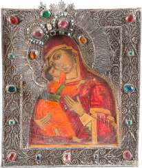 SMALL ICON OF MOTHER OF GOD OF VLADIMIR (VLADIMIRSKAYA) WITH FILIGREE RIZA