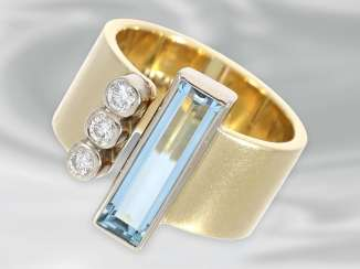 Ring: fancy Designer gold wrought ring with diamonds and aquamarine, refers to HANDMADE, 14K Gold