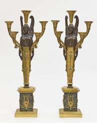Pair of girandoles, five-flame Empire style