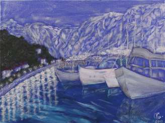 """Night pier"", series ""Landscapes of Montenegro"""
