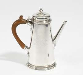 George II coffee pot with coat of arms engraving