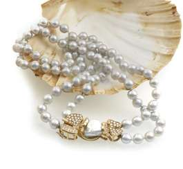 Double-row pearl necklace with diamond clasp