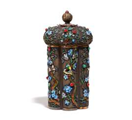 THE FLOWER-SHAPED TEA CADDY, WITH FLOWERS BRANCHES AND SINGING BIRDS
