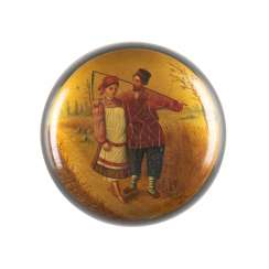 LACQUER BOX WITH PEASANT COUPLE