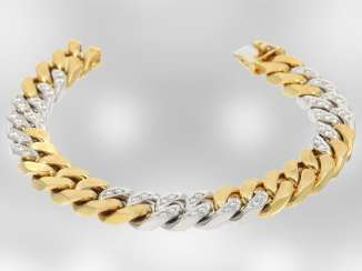 Bracelet: excellent heavy bicolor chain bracelet with brilliant-cut diamonds, approx. 1,85 ct, 18K Yellow/white gold