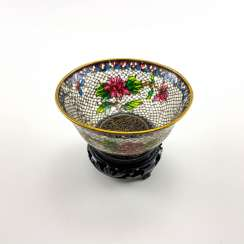 Decorative vase, rare technique of stained glass enamels, China, cloisonné, perfect condition