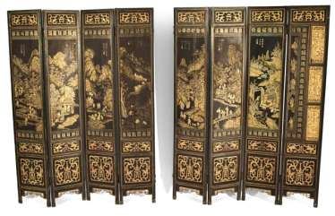 Eight-piece control screen with landscape decoration in gold lacquer