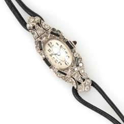 Art-Deco-ladies ' wristwatch, with old European cut diamonds and diamond roses.