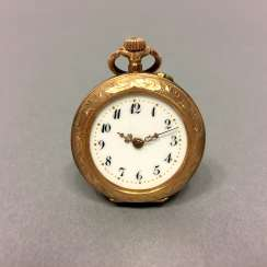 Ladies Pocket Watch: Yellow Gold 585. Johannes Dürrstein & Co, Dresden. Fine art Nouveau 1900 engraved, very good.