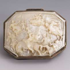 Silver box with mother-of-pearl carving