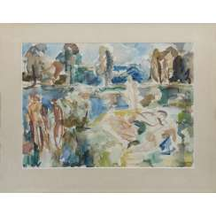 HENNINGER, MANFRED (1894-1986) 'Bathers at a Lake', 1969.