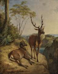 Stag and DOE in a landscape of boulders , Steffeck, Carl Constantin Heinrich 1818 Berlin - 1890 Königsberg