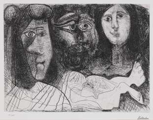 Self-portrait with two women,