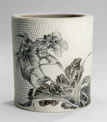Brush Cup made of Biscuit porcelain with Grisaille painting of flowers with the point of relief