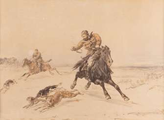 PJOTR PETROWITSCH SOKOLOW 1821 St. Petersburg - 1899 ibid. Two hunting scenes lithograph on paper. Visible dimensions: 33 cm x 43 cm and 33 cm x 44