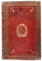 Dark red maroquine binding