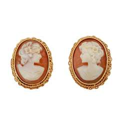 Clip-on earrings with shell cameos,