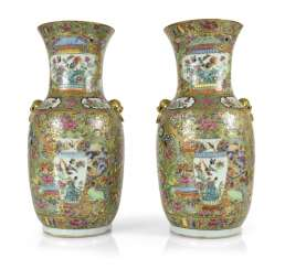 Pair of Canton porcelain vases with Famille rose decor