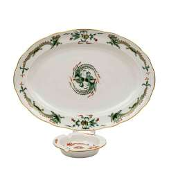 MEISSEN oval plate and ashtray 'Hofdrache Richer', 1. and 2. Choice, 20. Century.