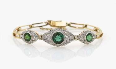 Bracelet tourmalines and diamonds Germany, 1950s