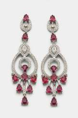 Pair of Ruby Chandeliers