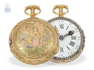 Pocket watch: magnificent 20K Gold 4-colors Spindeluhr with Repetition and stone trim, Dufalga Geneve, CA. 1770