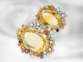 Trailer: opulent citrine pendant with color stones and diamonds, 14K white gold, Italian golschmiede work