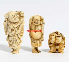 THREE NETSUKE: SARUMAWASHI, HOTEL AND ENSHI