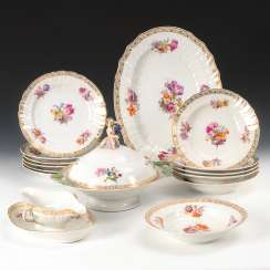 Dinner service with floral painting, antique KPM Berlin.