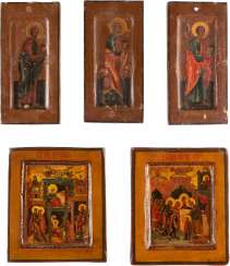 FIVE SMALL ICONS WITH THE BIRTH AND THE TEMPLE GANG, THE MOTHER OF GOD AND THE THREE APOSTLES