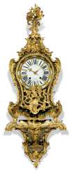 A LOUIS XV ORMOLU-MOUNTED, STAINED-HORN, MOTHER-OF-PEARL AND BRASS CONTRE-PARTIE 'BOULLE' STRIKING BRACKET CLOCK