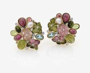 A Pair of stud pin clips with tourmalines, diamonds, Peridoten, topazes and pearls