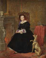 Neustätter (Ludwig Neustätter, member of the Wiener Künstlerhaus from 1861,?) - Young lady with a dog by the fireplace, around 1859