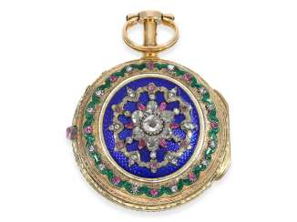 Pocket watch: important Gold/enamel pocket watch with Repetition a toc et a tact, studded with rubies and diamonds, watchmaker to the court, Pierre le Roy a Paris, CA. 1770