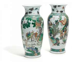 Pair of large shoulder vases with figures