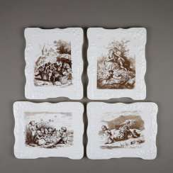 Four wall plates / porcelain pictures