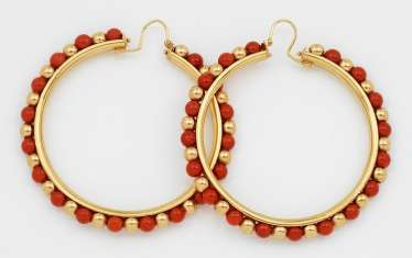 Pair of large Hoop earrings with coral trim