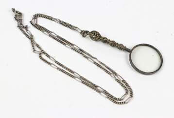 antique handle magnifying glass on chain