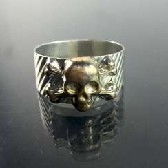 Ring with Skull and crossbones / skull / Skull, silver 900, Rockabilly.