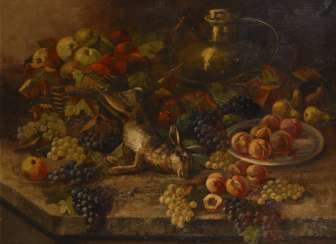 Indistinctly signed: Large still-life with hare