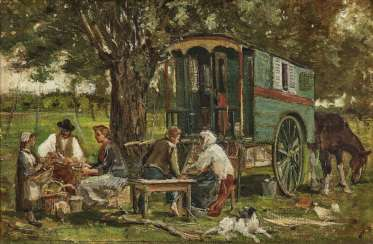 Camp family with covered wagon