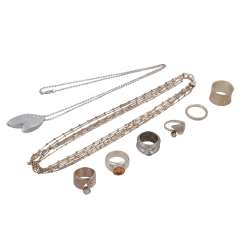 Jewelry mixed lot of silver, 8-piece,
