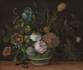 Still life with flowers and insects and birds