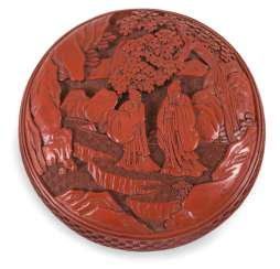 Round lacquer red box with the presentation of scholars