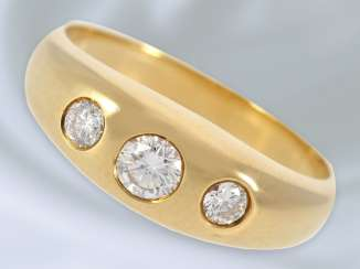 Ring: classic, high-quality vintage band ring with brilliant trim, 0,41 ct, 18K Gold