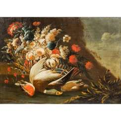 "PAINTER 17th / 18th centuries Century, ""Still life with hunted birds in front of a bouquet"","