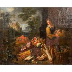 "PAINTER 17./18. Century, ""Young woman arranging a fruit buffet"","
